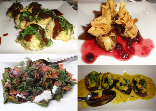 Clockwise, from top left: Sev Batata Puri, Butternut Squash Samosa, Malai Dates, Crispy Palak Chat