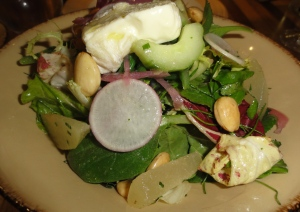 Salad of baby lettuces, Forelle pears, tiny grean beans, La Tur cheese, and almonds
