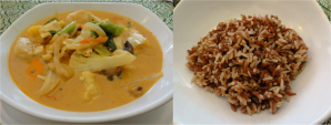 Red curry with red rice