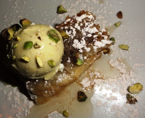 Baklava with pistachio ice cream