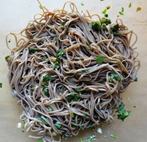 Soba noodles with marinade
