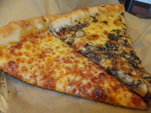 Cheese and mushroom slices