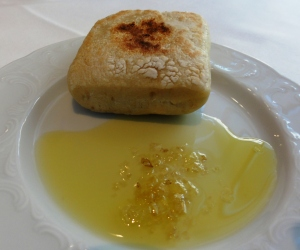 Bread with smoked oil and salt