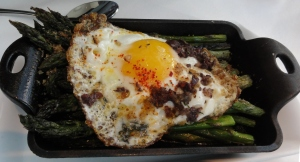 Grilled asparagus with egg and tapenade