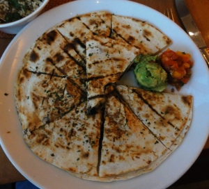 Vegetable quesadilla with huitlacoche