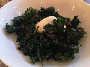 Crispy kale with burrata