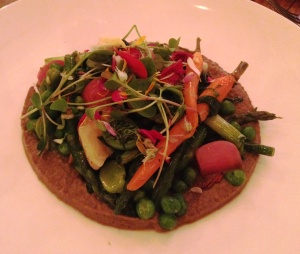Spring vegetables with morel sauce